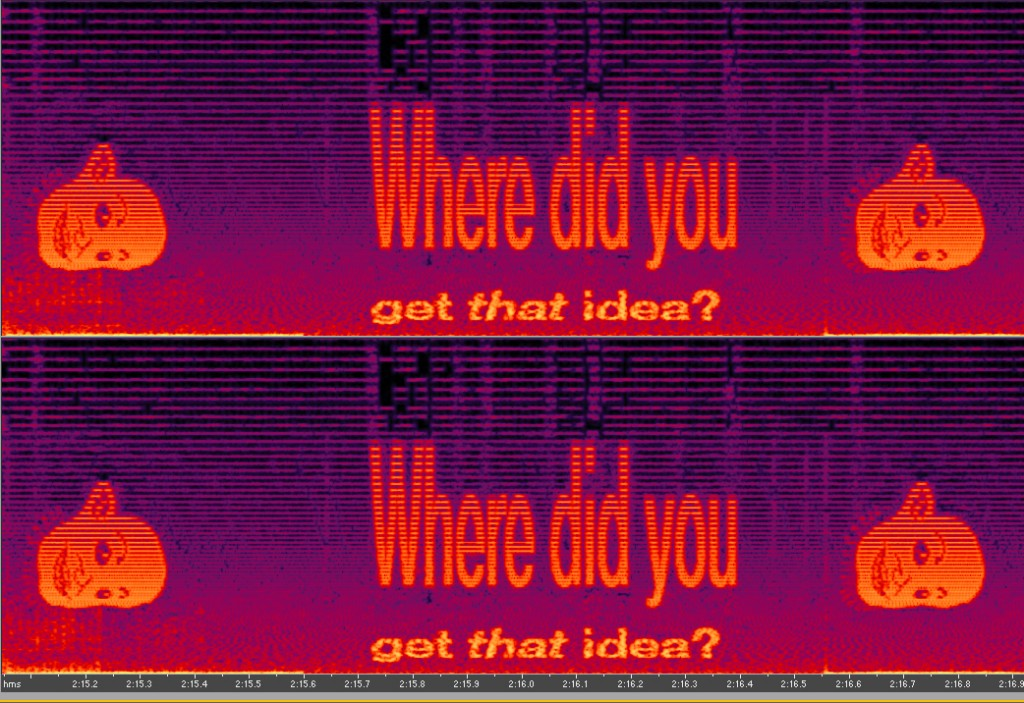 Sound wave with 'Where did you get that idea?' in