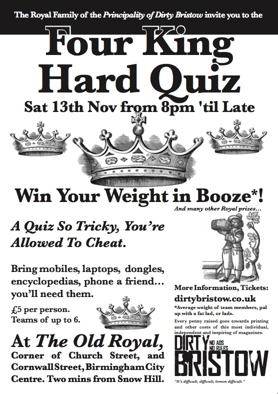 Four King Hard Quiz Sat 13th Nov from 8pm 'til Late